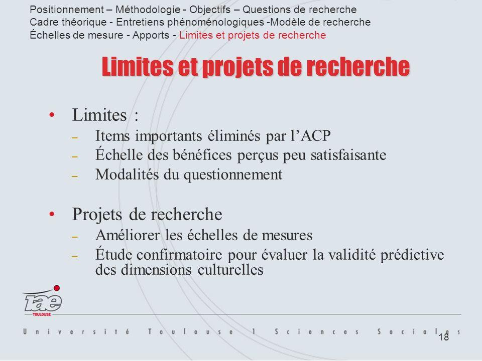 18 Limites et projets de recherche Limites : – Items importants éliminés par lACP – Échelle des bénéfices perçus peu satisfaisante – Modalités du ques