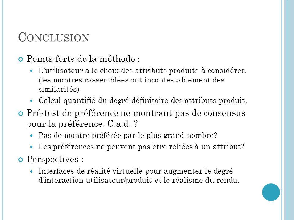 C ONCLUSION Points forts de la méthode : Lutilisateur a le choix des attributs produits à considérer.
