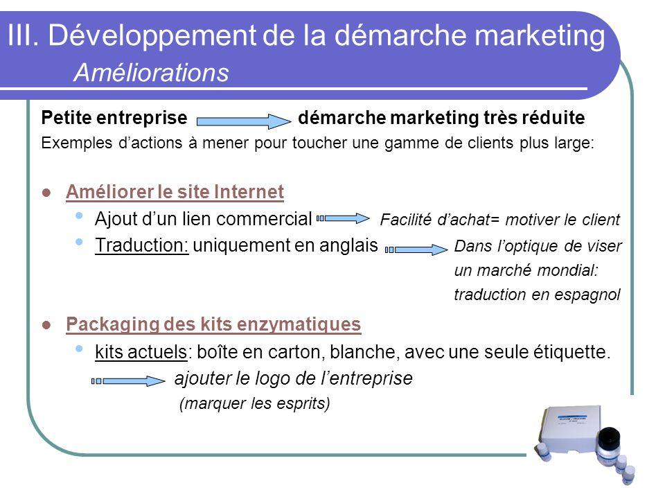 III. Développement de la démarche marketing Améliorations Petite entreprise démarche marketing très réduite Exemples dactions à mener pour toucher une