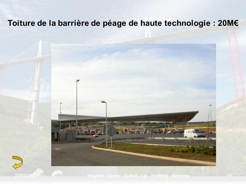 Toiture de la barrière de péage de haute technologie : 20M 21/03/200717Bregeon - Darres - Guibal - Lac - Huafeng - Sanroma