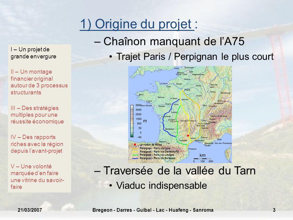1) Origine du projet : –Chaînon manquant de lA75 Trajet Paris / Perpignan le plus court –Traversée de la vallée du Tarn Viaduc indispensable I – Un pr