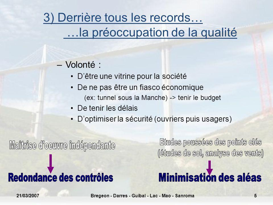 21/03/20075Bregeon - Darres - Guibal - Lac - Mao - Sanroma21/03/20075 3) Derrière tous les records… …la préoccupation de la qualité –Volonté : Dêtre u