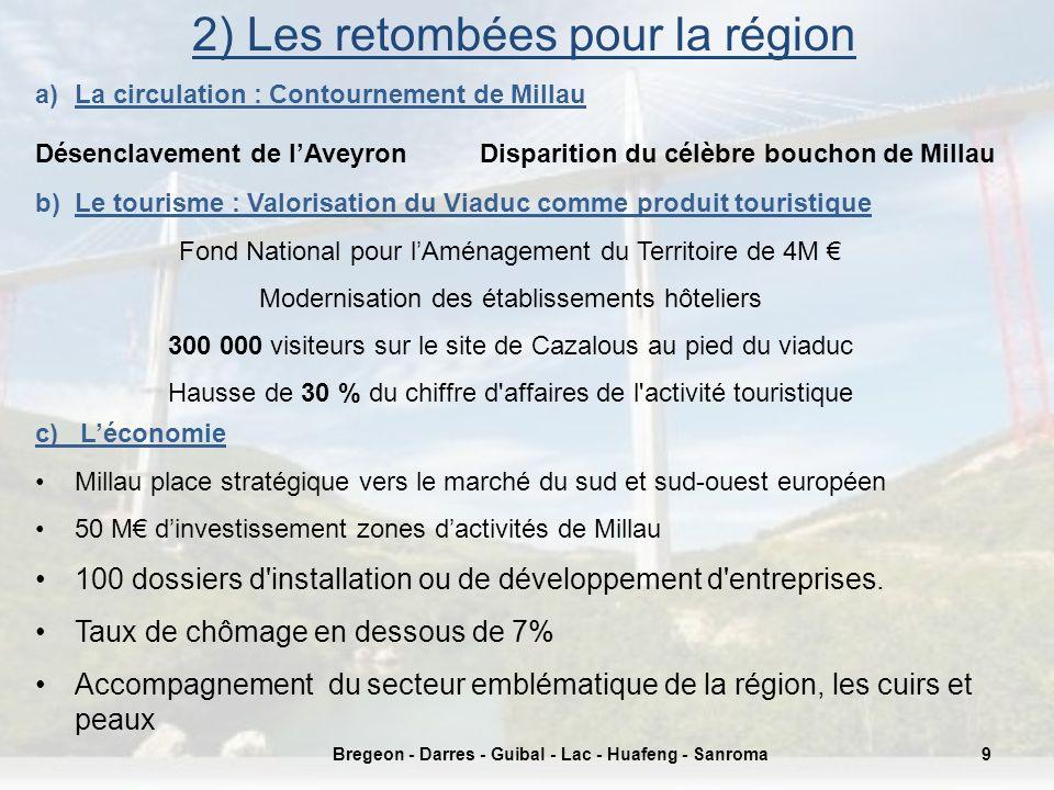 2) Les retombées pour la région 9Bregeon - Darres - Guibal - Lac - Huafeng - Sanroma a)La circulation : Contournement de Millau Désenclavement de lAve