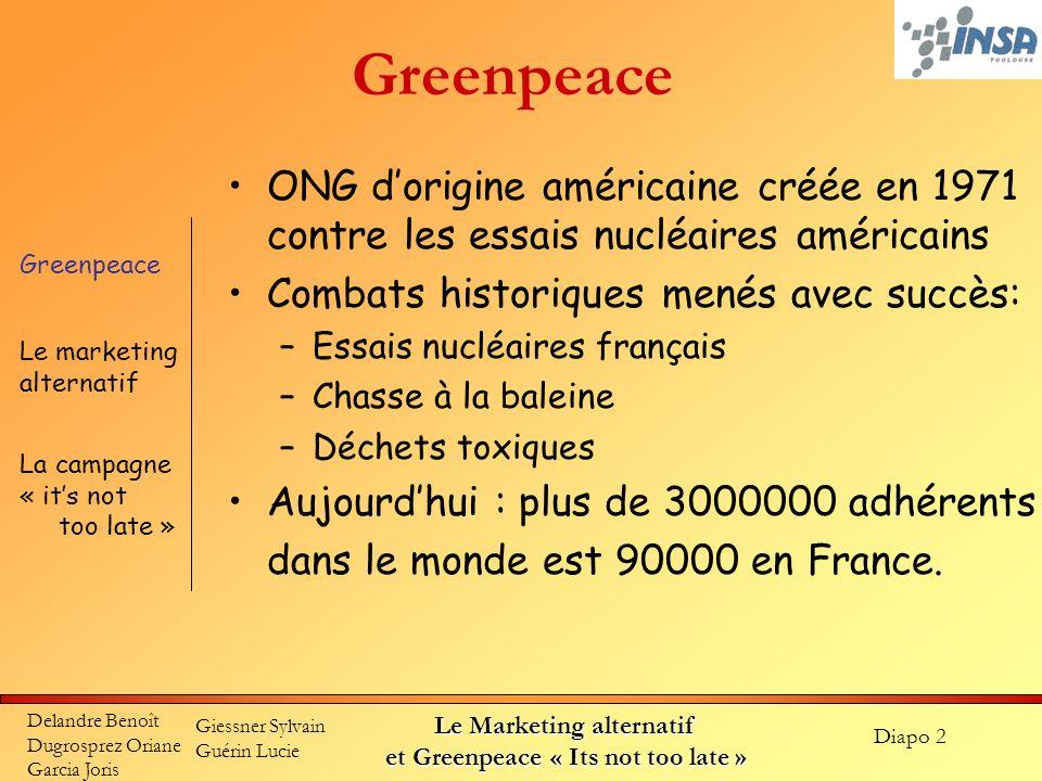 Diapo 2 Delandre Benoît Dugrosprez Oriane Garcia Joris Giessner Sylvain Guérin Lucie Le Marketing alternatif et Greenpeace « Its not too late » Greenp