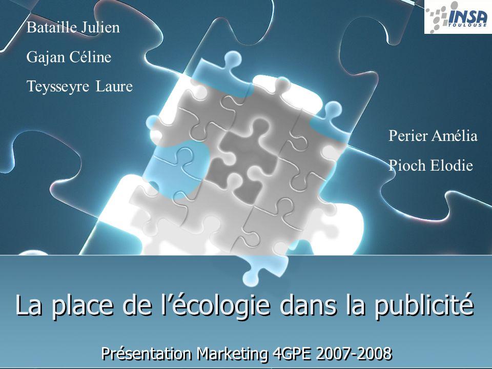 La place de lécologie dans la publicité Présentation Marketing 4GPE 2007-2008 Bataille Julien Gajan Céline Teysseyre Laure Perier Amélia Pioch Elodie