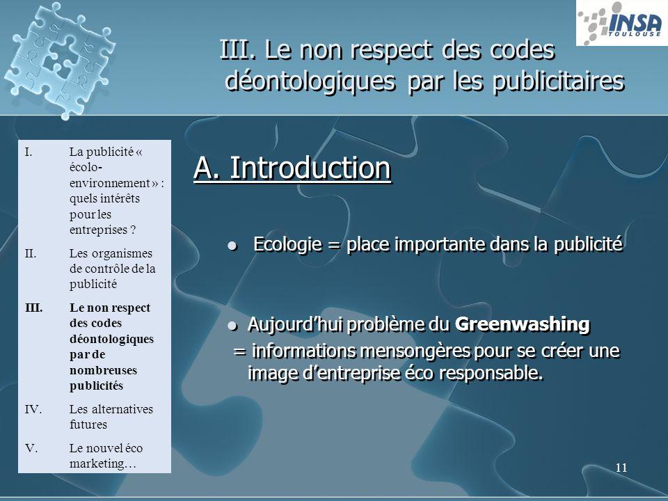 11 III. Le non respect des codes déontologiques par les publicitaires I.La publicité « écolo- environnement » : quels intérêts pour les entreprises ?