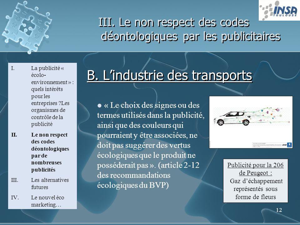 12 III. Le non respect des codes déontologiques par les publicitaires I.La publicité « écolo- environnement » : quels intérêts pour les entreprises ?L