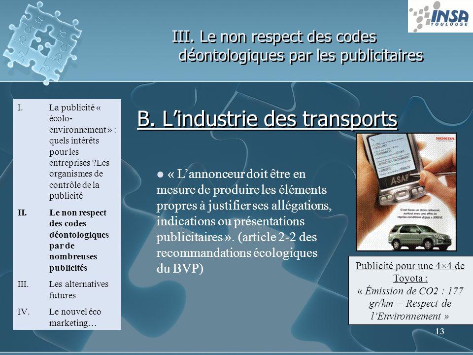 13 III. Le non respect des codes déontologiques par les publicitaires I.La publicité « écolo- environnement » : quels intérêts pour les entreprises ?L