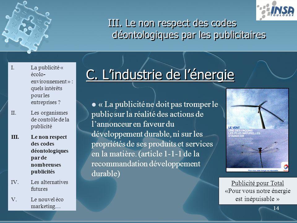 14 III. Le non respect des codes déontologiques par les publicitaires I.La publicité « écolo- environnement » : quels intérêts pour les entreprises ?
