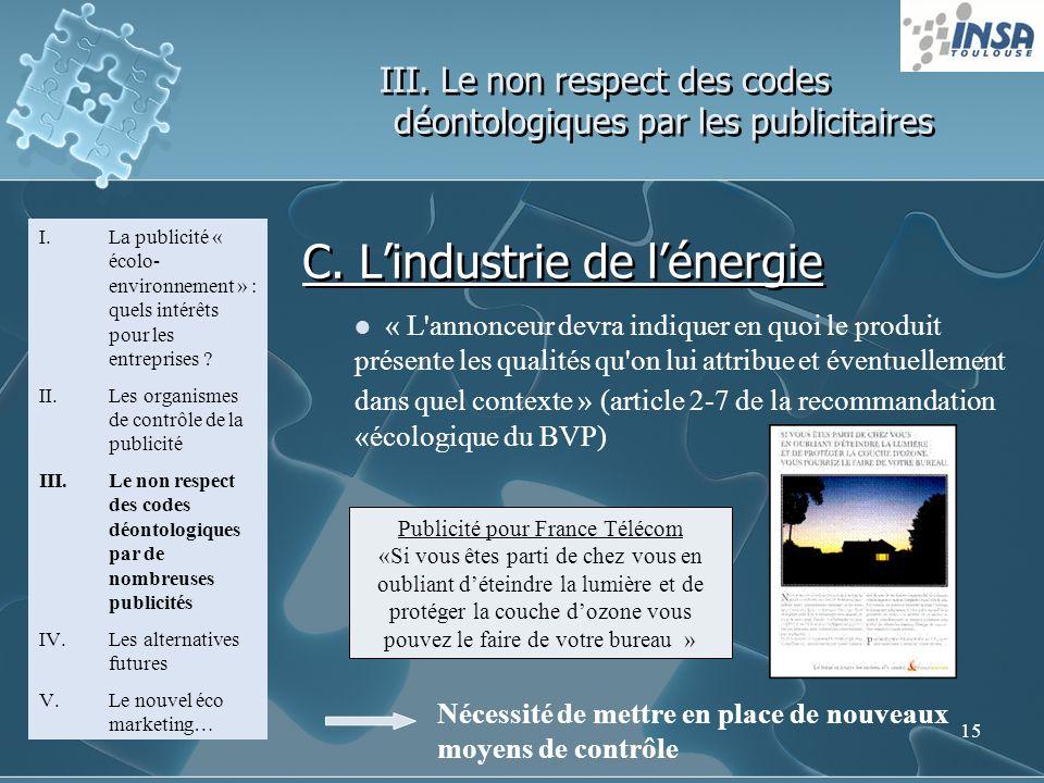 15 III. Le non respect des codes déontologiques par les publicitaires I.La publicité « écolo- environnement » : quels intérêts pour les entreprises ?
