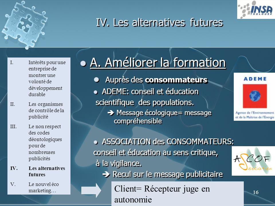 16 IV. Les alternatives futures I.Intérêts pour une entreprise de montrer une volonté de développement durable II.Les organismes de contrôle de la pub