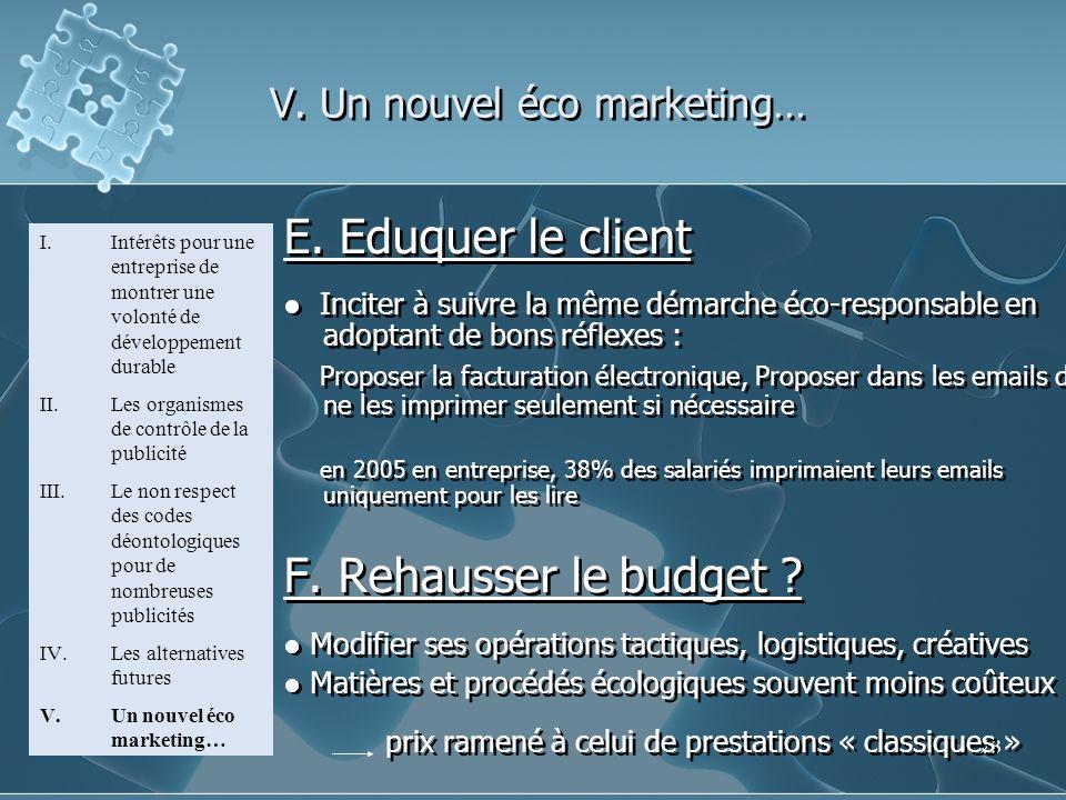 23 E. Eduquer le client Inciter à suivre la même démarche éco-responsable en adoptant de bons réflexes : Proposer la facturation électronique, Propose