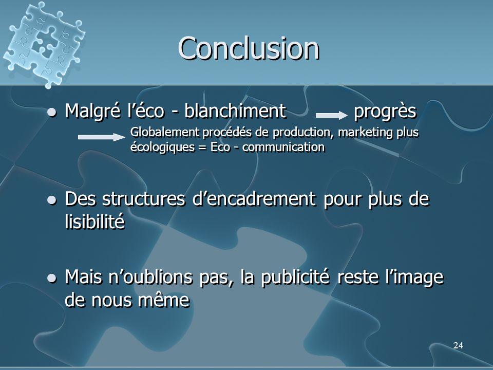 24 Conclusion Malgré léco - blanchiment progrès Globalement procédés de production, marketing plus écologiques = Eco - communication Des structures de