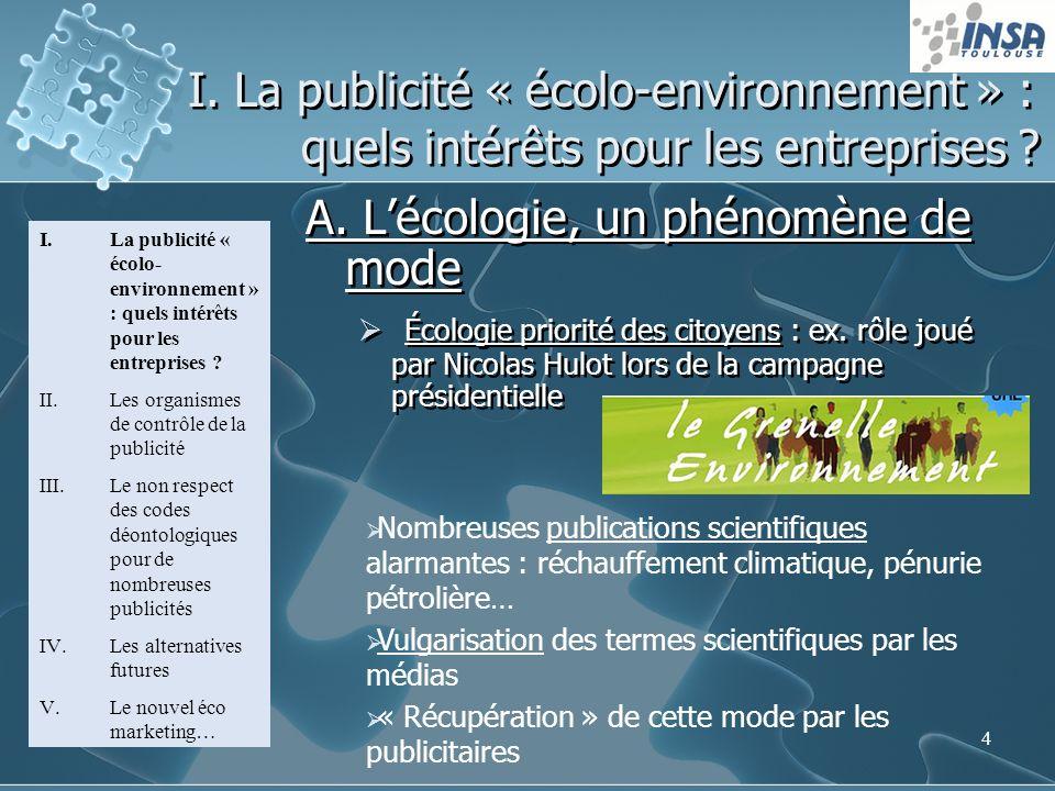 4 I. La publicité « écolo-environnement » : quels intérêts pour les entreprises ? A. Lécologie, un phénomène de mode Écologie priorité des citoyens :