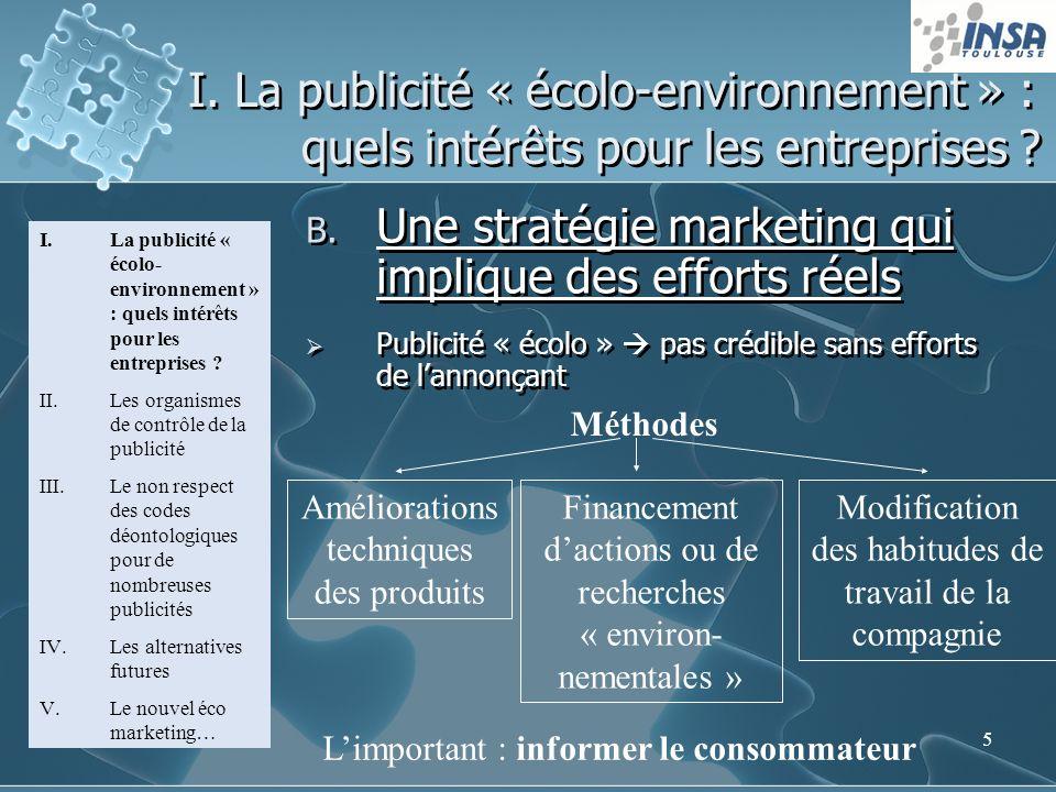 5 I. La publicité « écolo-environnement » : quels intérêts pour les entreprises ? B. Une stratégie marketing qui implique des efforts réels Publicité