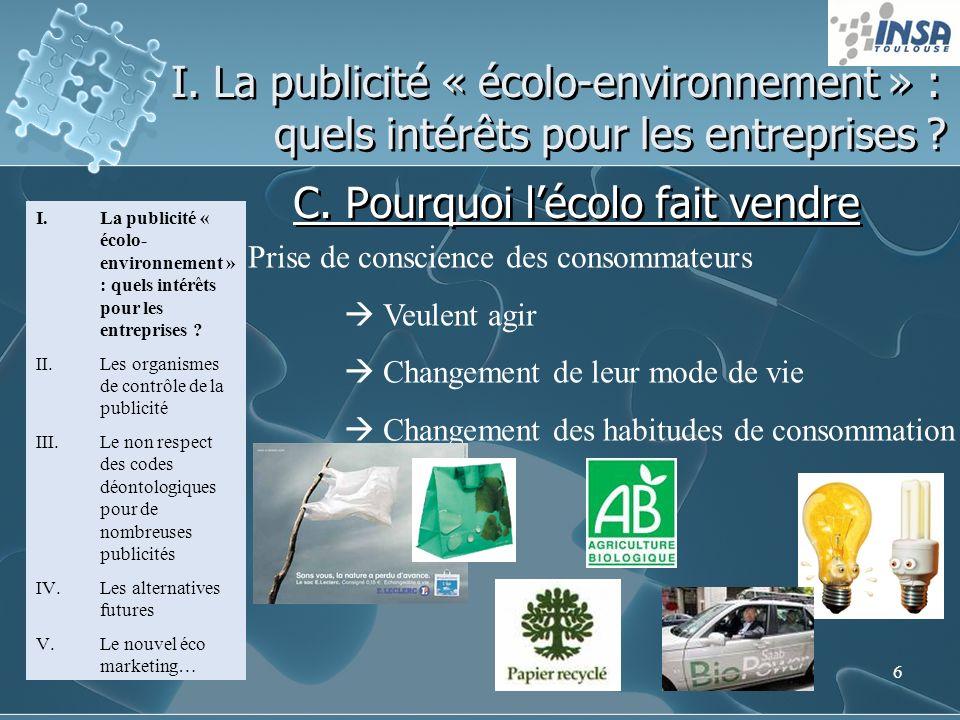 6 I. La publicité « écolo-environnement » : quels intérêts pour les entreprises ? C. Pourquoi lécolo fait vendre I.La publicité « écolo- environnement