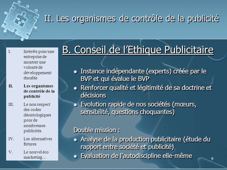 9 II. Les organismes de contrôle de la publicité I.Intérêts pour une entreprise de montrer une volonté de développement durable II.Les organismes de c
