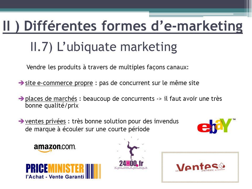 Vendre les produits à travers de multiples façons canaux: site e-commerce propre : pas de concurrent sur le même site places de marchés : beaucoup de