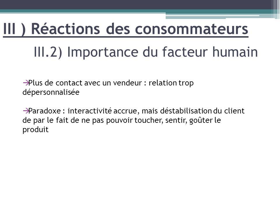 III.2) Importance du facteur humain III ) Réactions des consommateurs Plus de contact avec un vendeur : relation trop dépersonnalisée Paradoxe : inter