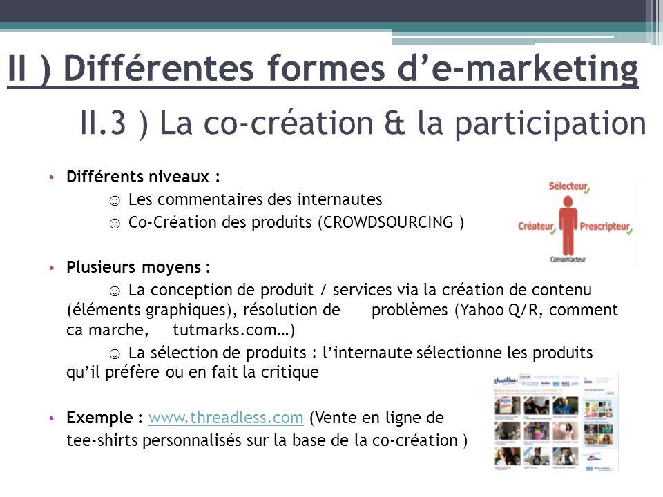 Différents niveaux : Les commentaires des internautes Co-Création des produits (CROWDSOURCING ) Plusieurs moyens : La conception de produit / services