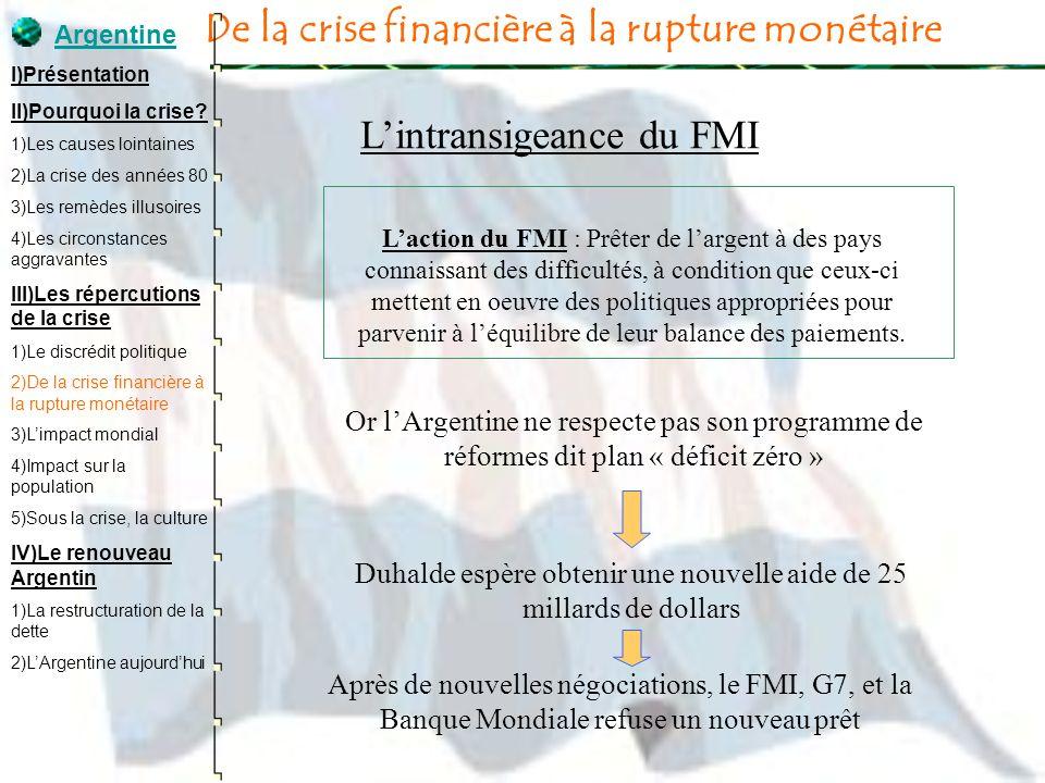 De la crise financière à la rupture monétaire Lintransigeance du FMI Laction du FMI : Prêter de largent à des pays connaissant des difficultés, à cond