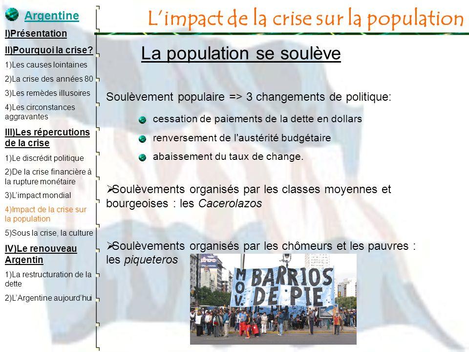 Limpact de la crise sur la population La population se soulève Soulèvement populaire => 3 changements de politique: cessation de paiements de la dette