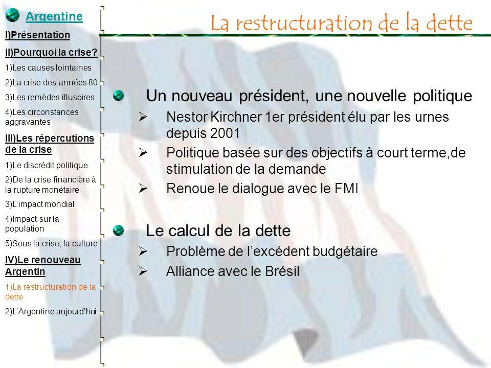 La restructuration de la dette Un nouveau président, une nouvelle politique Nestor Kirchner 1er président élu par les urnes depuis 2001 Politique basé