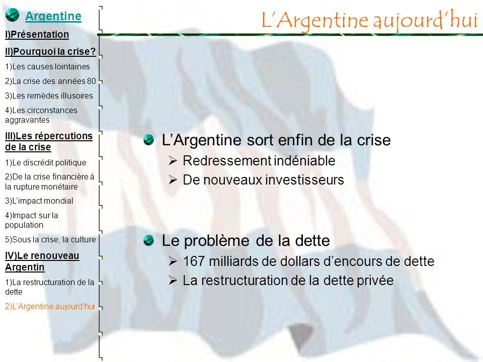 LArgentine sort enfin de la crise Redressement indéniable De nouveaux investisseurs Le problème de la dette 167 milliards de dollars dencours de dette