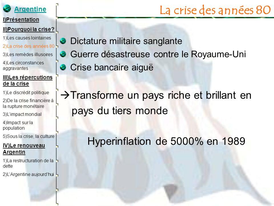 Les remèdes illusoires Arrivée de Carlos Menem au pouvoir en 1989 Domingo Cavallo ministre de léconomie 6 années de croissance 2ème taux de croissance mondial en 90 et 96 investissements étrangers affluent Parité économique (1991) : 1 peso = 1 dollar Surévaluation du peso, limite lexportation Emprunts massifs et privatisations soutenus par le FMI Augmentation de la dette Argentine I)Présentation II)Pourquoi la crise.