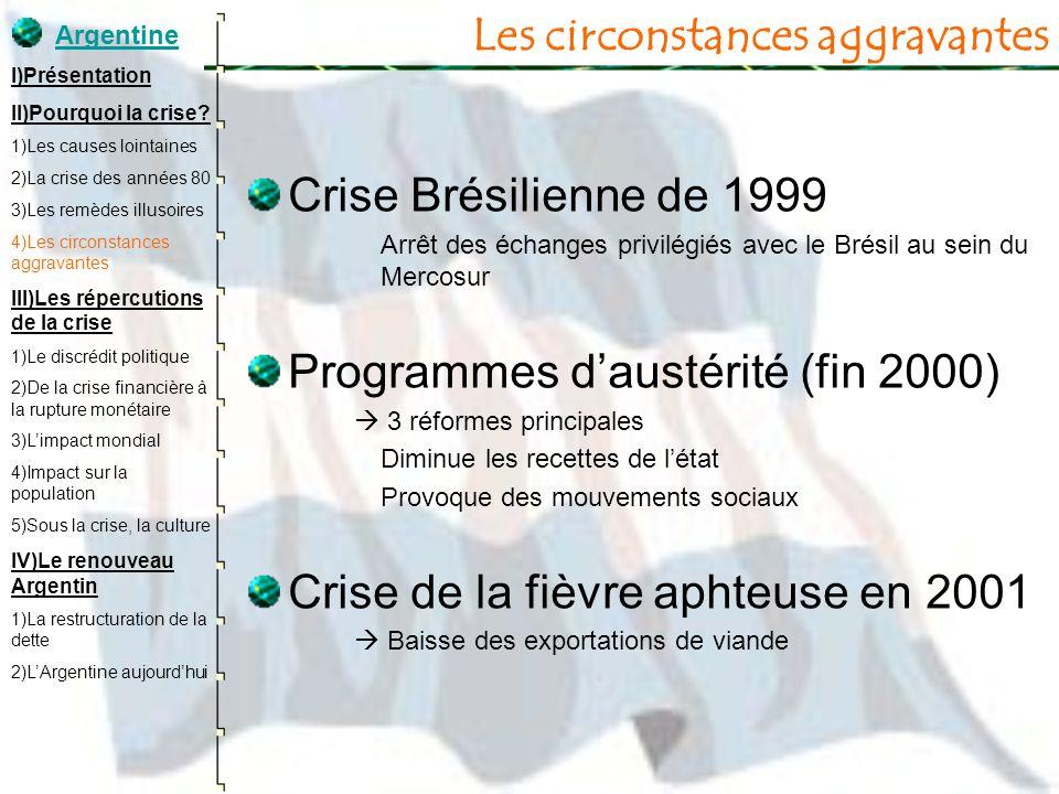 Les circonstances aggravantes Crise Brésilienne de 1999 Arrêt des échanges privilégiés avec le Brésil au sein du Mercosur Programmes daustérité (fin 2