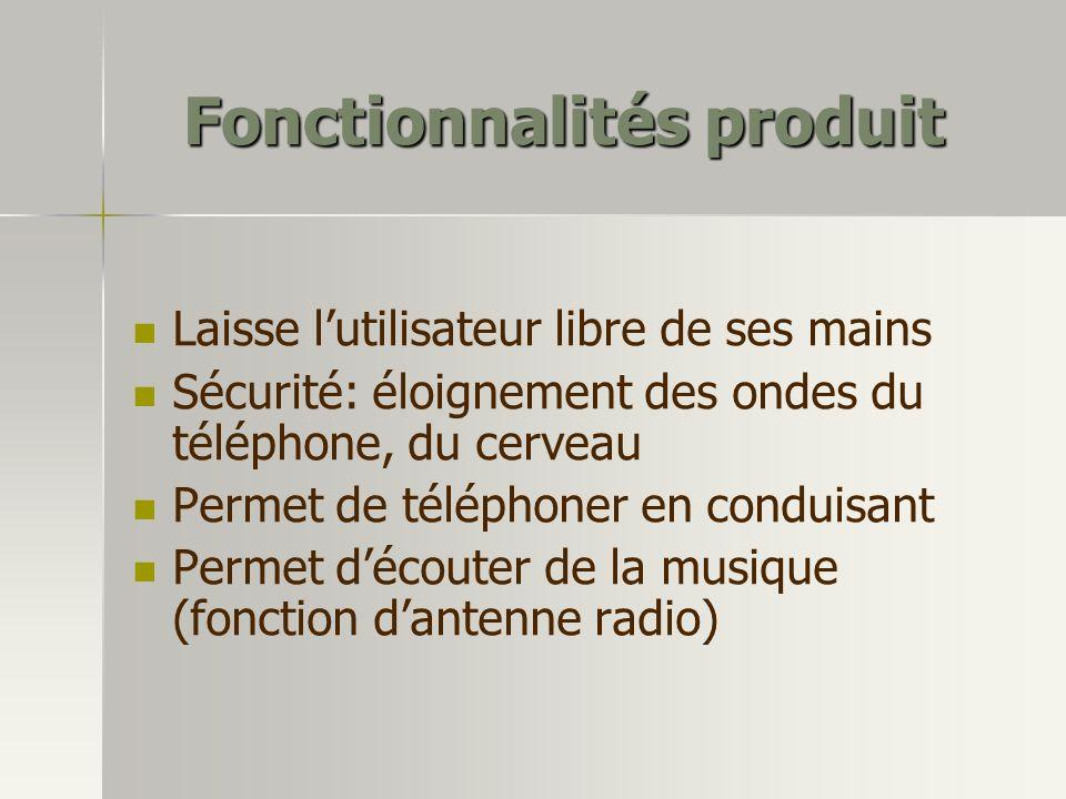 Fonctionnalités produit Laisse lutilisateur libre de ses mains Sécurité: éloignement des ondes du téléphone, du cerveau Permet de téléphoner en condui