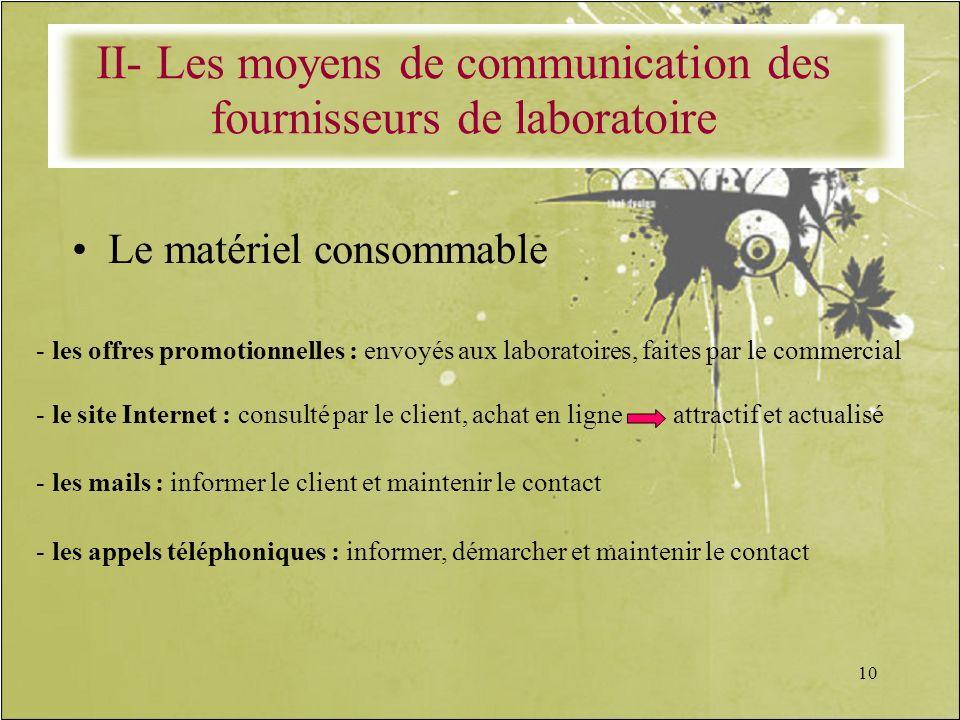 10 Le matériel consommable - les offres promotionnelles : envoyés aux laboratoires, faites par le commercial - le site Internet : consulté par le clie