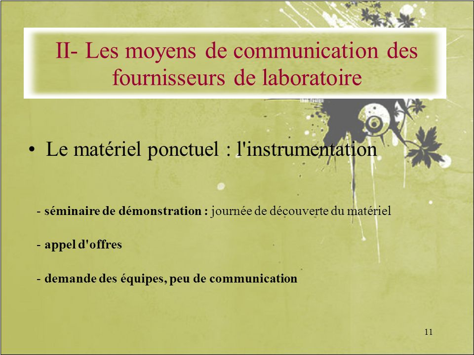 11 Le matériel ponctuel : l'instrumentation - séminaire de démonstration : journée de découverte du matériel - appel d'offres - demande des équipes, p