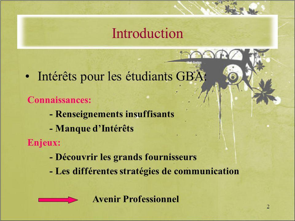 2 Intérêts pour les étudiants GBA: Connaissances: - Renseignements insuffisants - Manque dIntérêts Enjeux: - Découvrir les grands fournisseurs - Les d