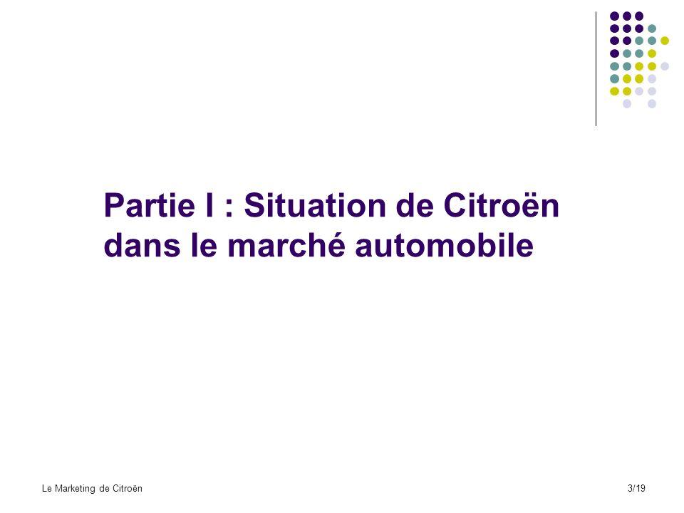 On montre la croissance continue des ventes enregistrées chez Citroën a partir de son changement de stratégie orientée vers un marché plus jeune Ventes de Citroën en France Le Marketing de Citroën14/19