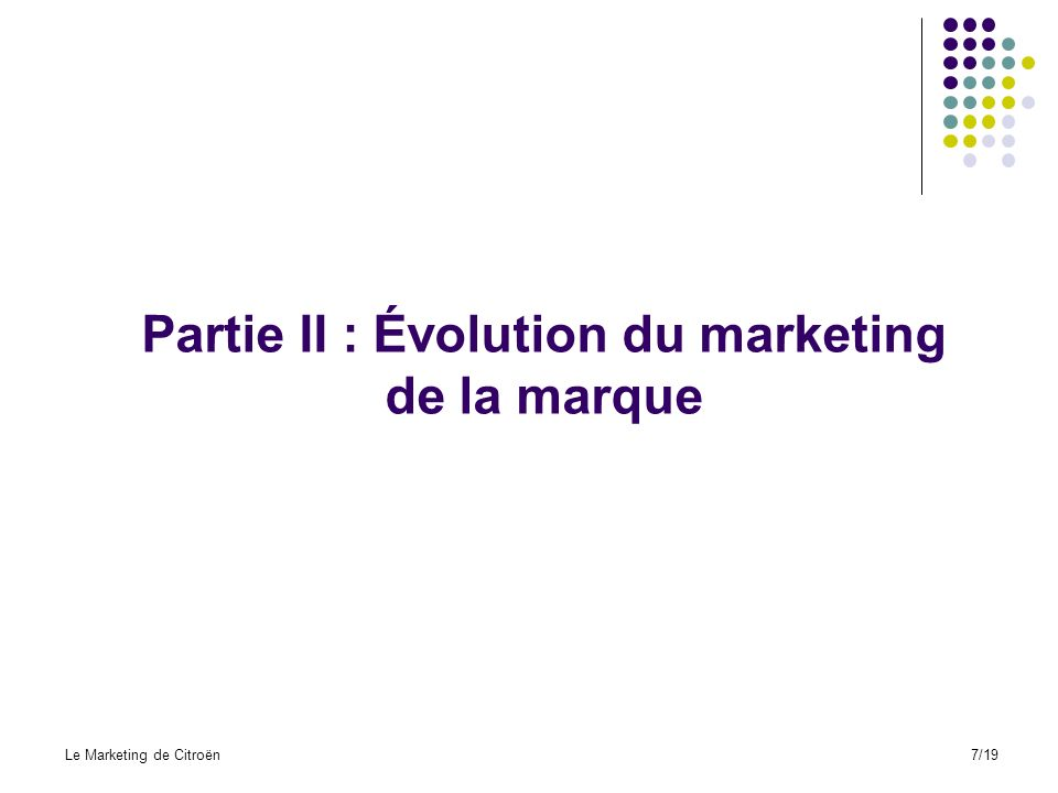 Partie II : Évolution du marketing de la marque Le Marketing de Citroën7/19
