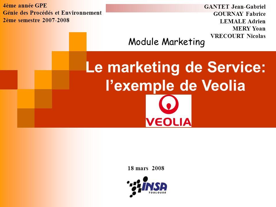 Le marketing de Service: lexemple de Veolia GANTET Jean-Gabriel GOURNAY Fabrice LEMALE Adrien MERY Yoan VRECOURT Nicolas 18 mars 2008 4ème année GPE G