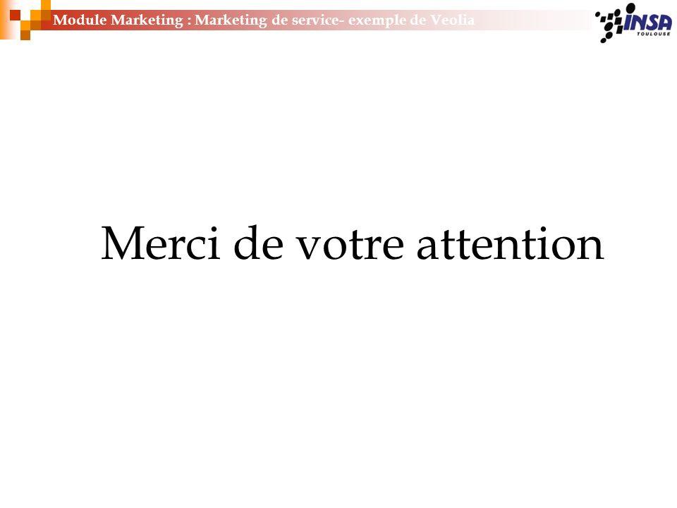 Merci de votre attention Module Marketing : Marketing de service- exemple de Veolia