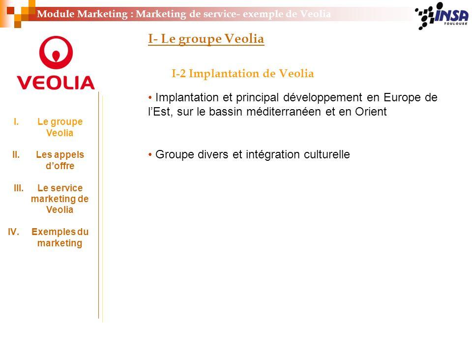 Module Marketing : Marketing de service- exemple de Veolia I- Le groupe Veolia I-2 Implantation de Veolia Implantation et principal développement en E