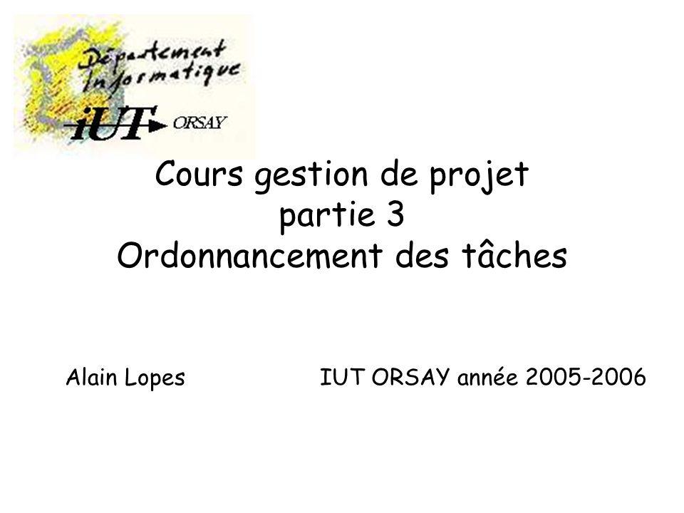 gestion projet 2 - année 2005-2006 Alain Lopes -IUT ORSAY - PARIS XI2 La méthode PERT Le P.E.R.T – P rogram E valuation and R eview T echnics- (Technique d Évaluation et de Contrôle des Programmes) est un outil qui permet d élaborer, de mettre à jour et de suivre un projet.