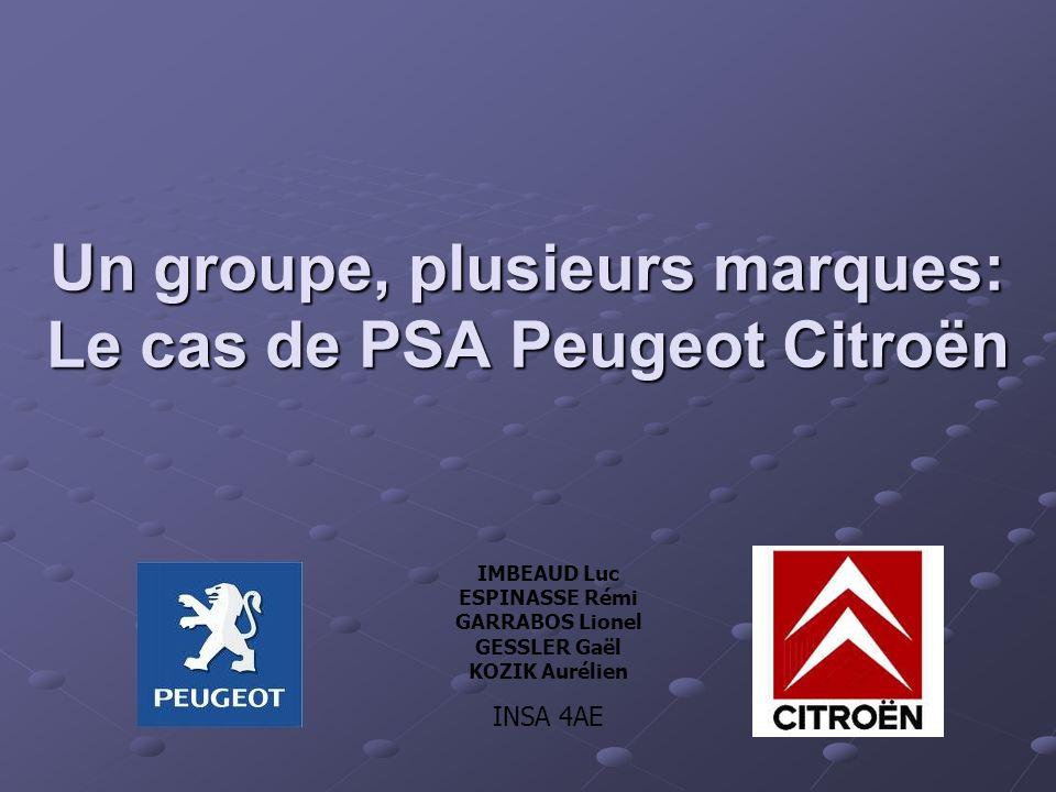 Un groupe, plusieurs marques: Le cas de PSA Peugeot Citroën IMBEAUD Luc ESPINASSE Rémi GARRABOS Lionel GESSLER Gaël KOZIK Aurélien INSA 4AE