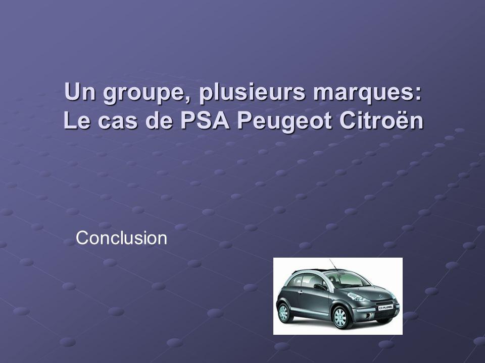 Conclusion Un groupe, plusieurs marques: Le cas de PSA Peugeot Citroën