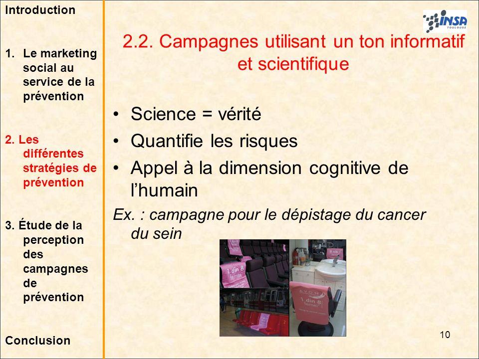 10 2.2. Campagnes utilisant un ton informatif et scientifique Science = vérité Quantifie les risques Appel à la dimension cognitive de lhumain Ex. : c