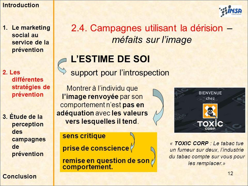 12 2.4. Campagnes utilisant la dérision – méfaits sur limage LESTIME DE SOI support pour lintrospection « TOXIC CORP : Le tabac tue un fumeur sur deux