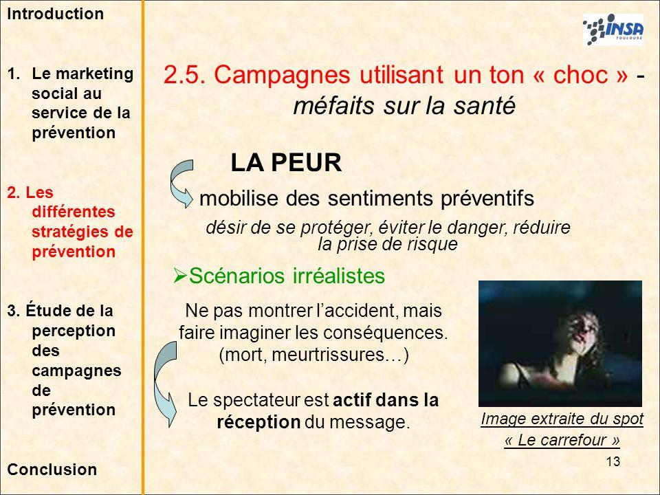 13 2.5. Campagnes utilisant un ton « choc » - méfaits sur la santé LA PEUR mobilise des sentiments préventifs désir de se protéger, éviter le danger,