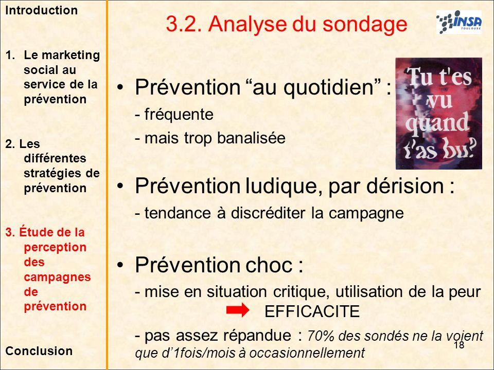 18 3.2. Analyse du sondage Prévention au quotidien : - fréquente - mais trop banalisée Prévention ludique, par dérision : - tendance à discréditer la