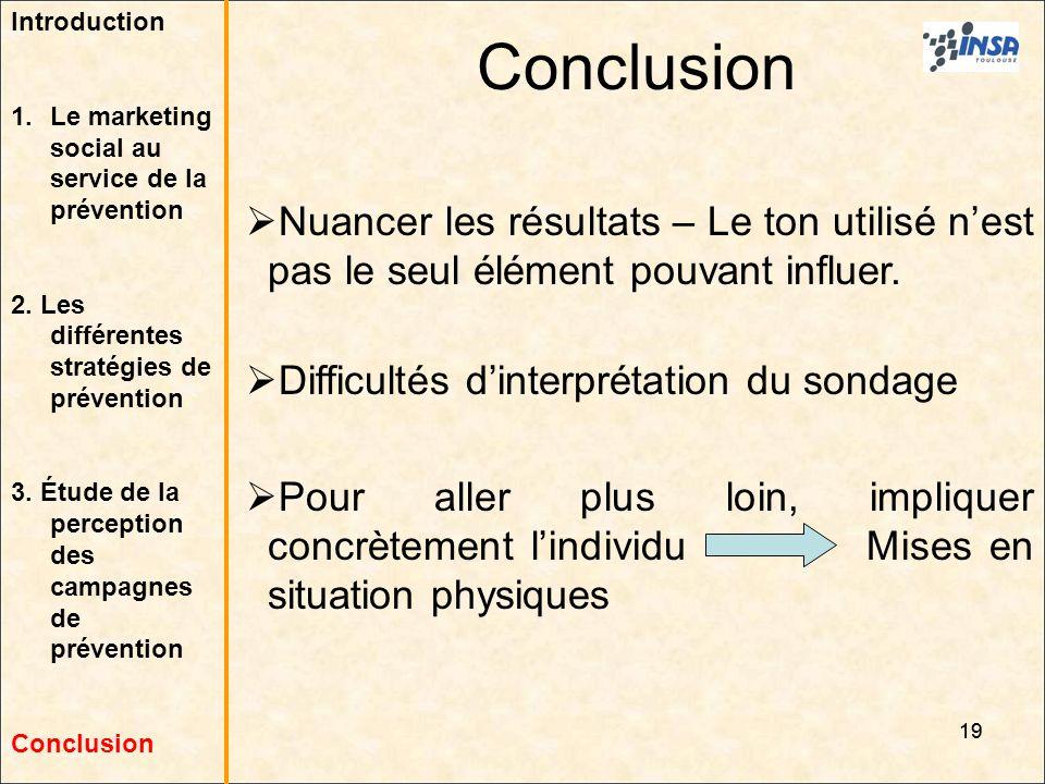 19 Conclusion 19 Nuancer les résultats – Le ton utilisé nest pas le seul élément pouvant influer. Difficultés dinterprétation du sondage Pour aller pl