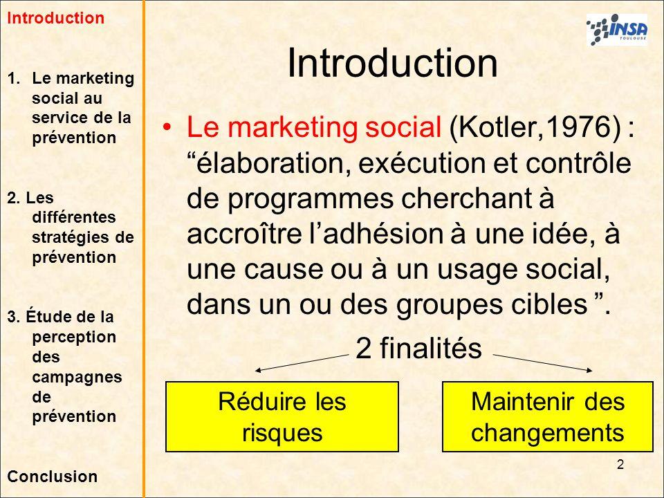 2 Introduction Le marketing social (Kotler,1976) : élaboration, exécution et contrôle de programmes cherchant à accroître ladhésion à une idée, à une
