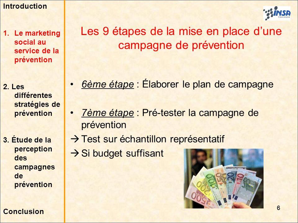 6 6ème étape : Élaborer le plan de campagne 7ème étape : Pré-tester la campagne de prévention Test sur échantillon représentatif Si budget suffisant L