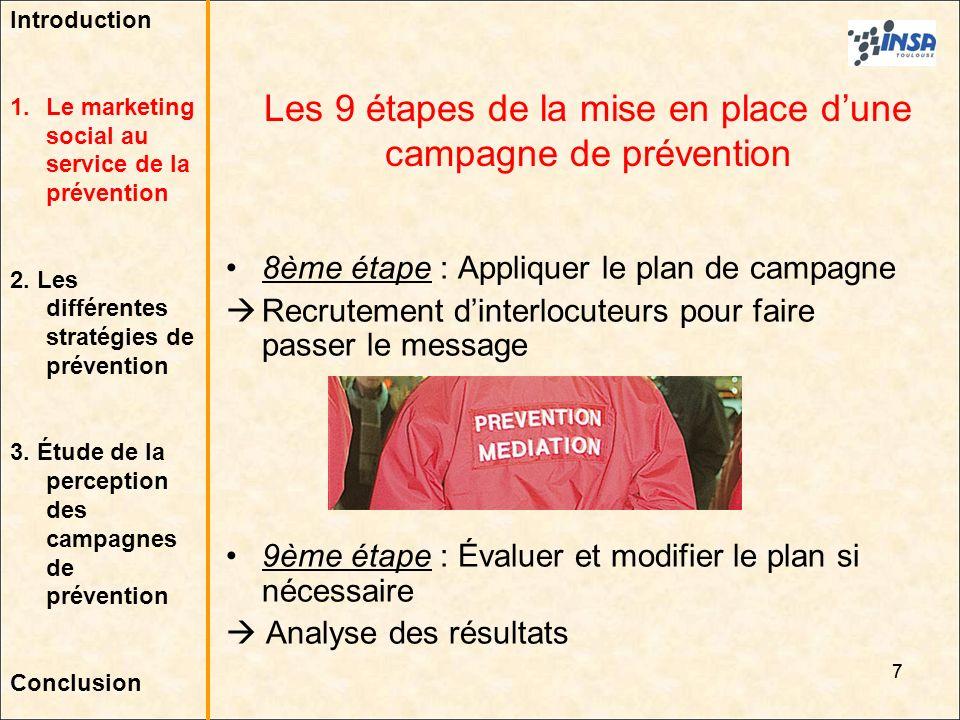 7 8ème étape : Appliquer le plan de campagne Recrutement dinterlocuteurs pour faire passer le message 9ème étape : Évaluer et modifier le plan si néce